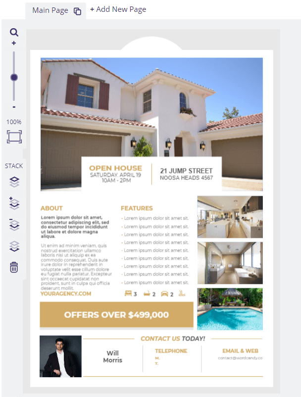 An open house flier with multiple property pictures.