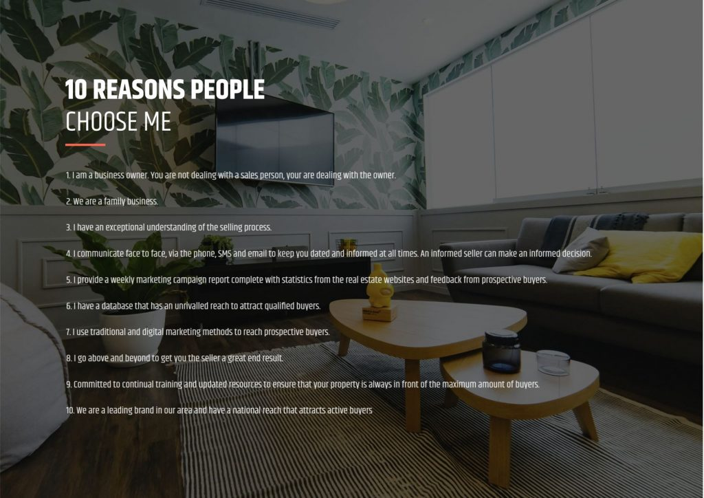 Listing presentation sample template - reasons why.