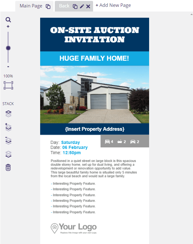 An on-site auction open house flyer.