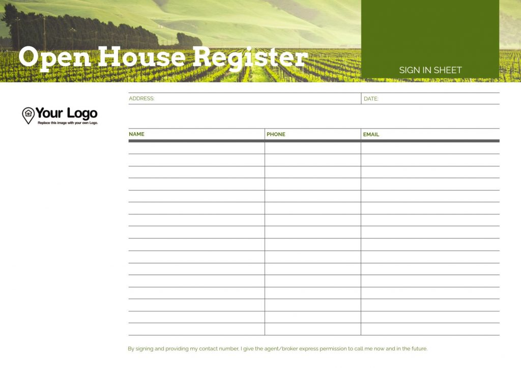 Open House Register template.