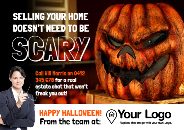 A Halloween-themed real estate post template.
