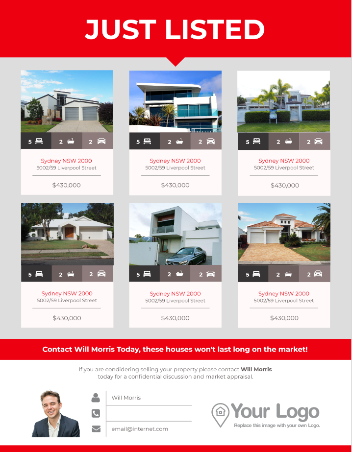A just listed real estate flyer featuring multiple homes.