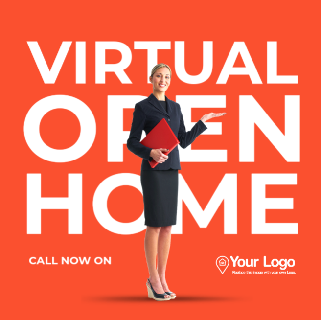A virtual open home social media post template.