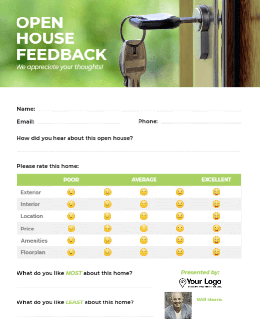 An open house feedback form template.