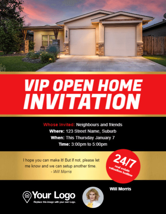 A flyer template for a VIP open home event.