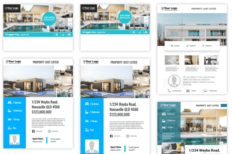 Some examples of real estate listing templates for Instagram.
