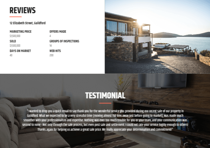Real estate client testimonials.