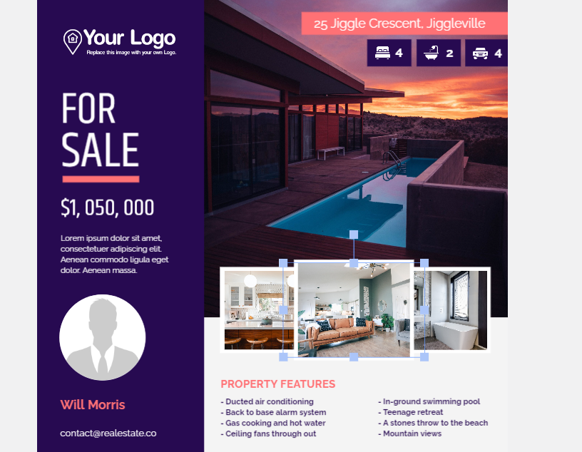 Replacing images within your just-listed flyer