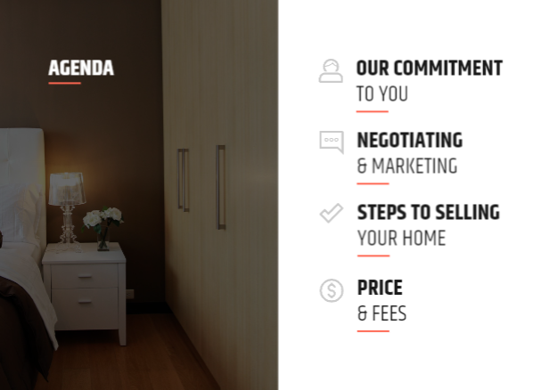 The full real estate listing presentation agenda.