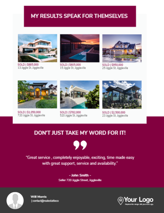 A real estate farming postcard including the latest properties that you've sold