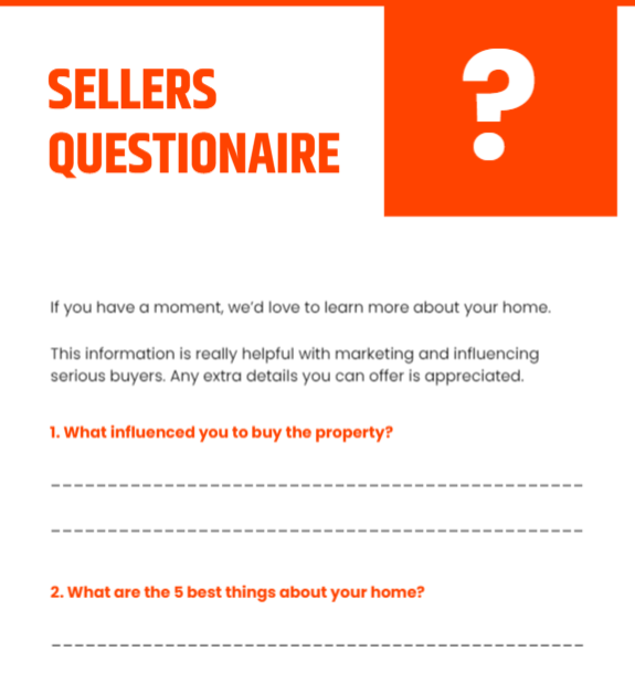 A seller's questionnaire within a pre-listing kit