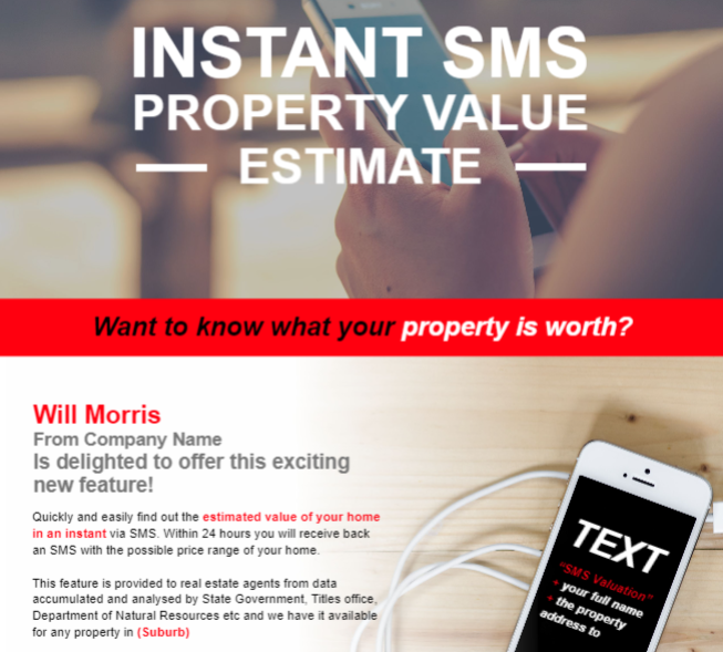 Send an SMS and get a property value estimate