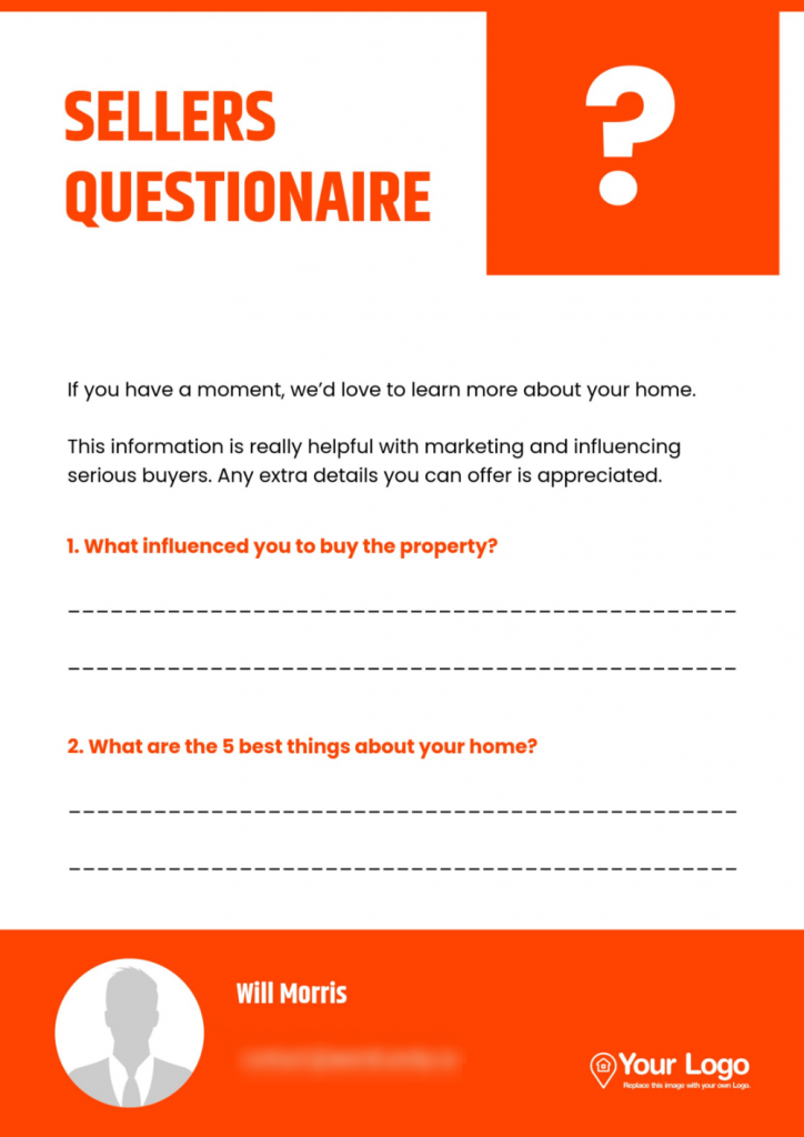 A seller's questionnaire template that can be useful for learning how to describea house for sale.