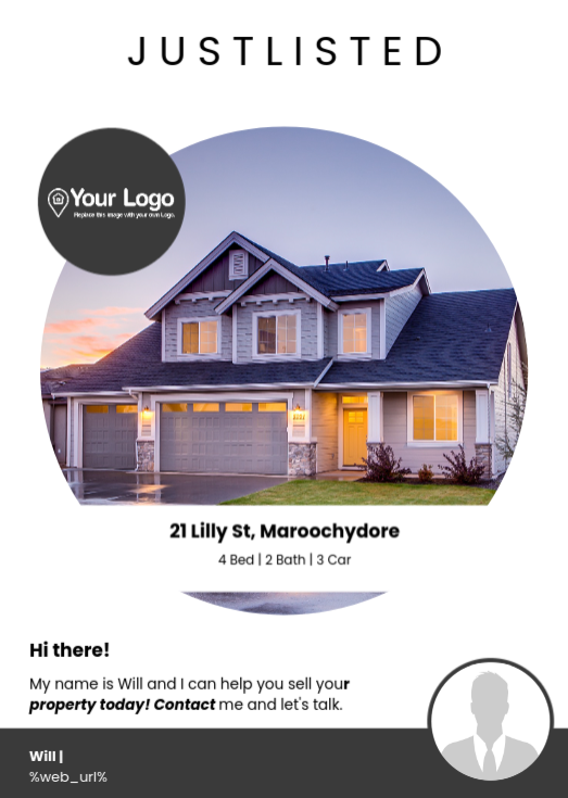 An example of a 'just listed' flyer as a real estate advertising idea.
