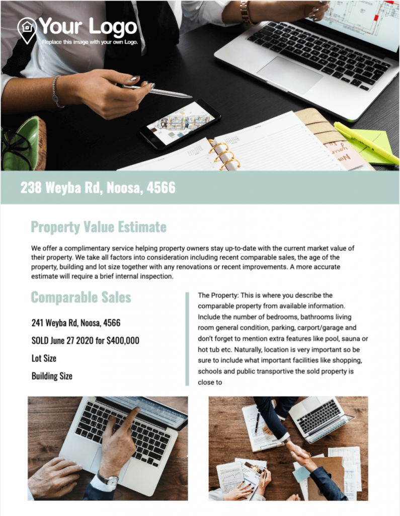 A free value estimate real estate prospecting letter template.