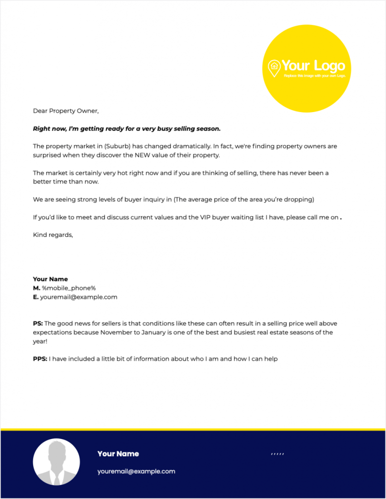 An example of a general real estate prospecting letter.