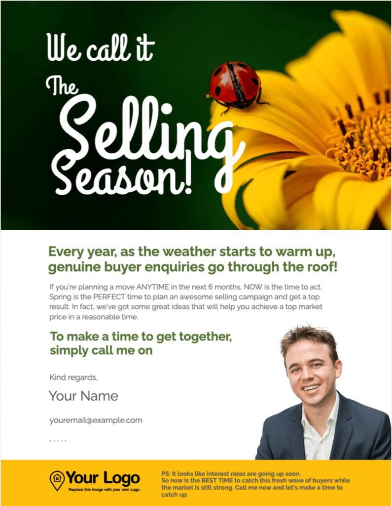 A selling season real estate prospecting letter sample.
