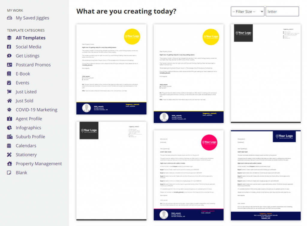 A variety of templates for creating a real estate company introduction letter to new clients.