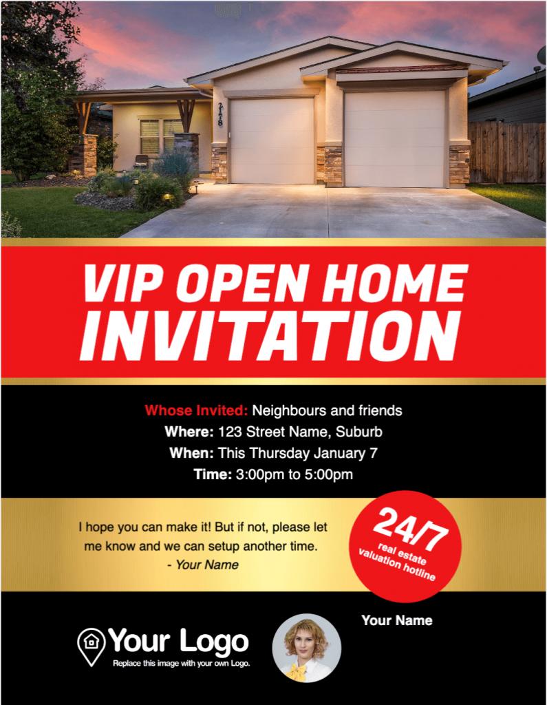 An open house flyer.