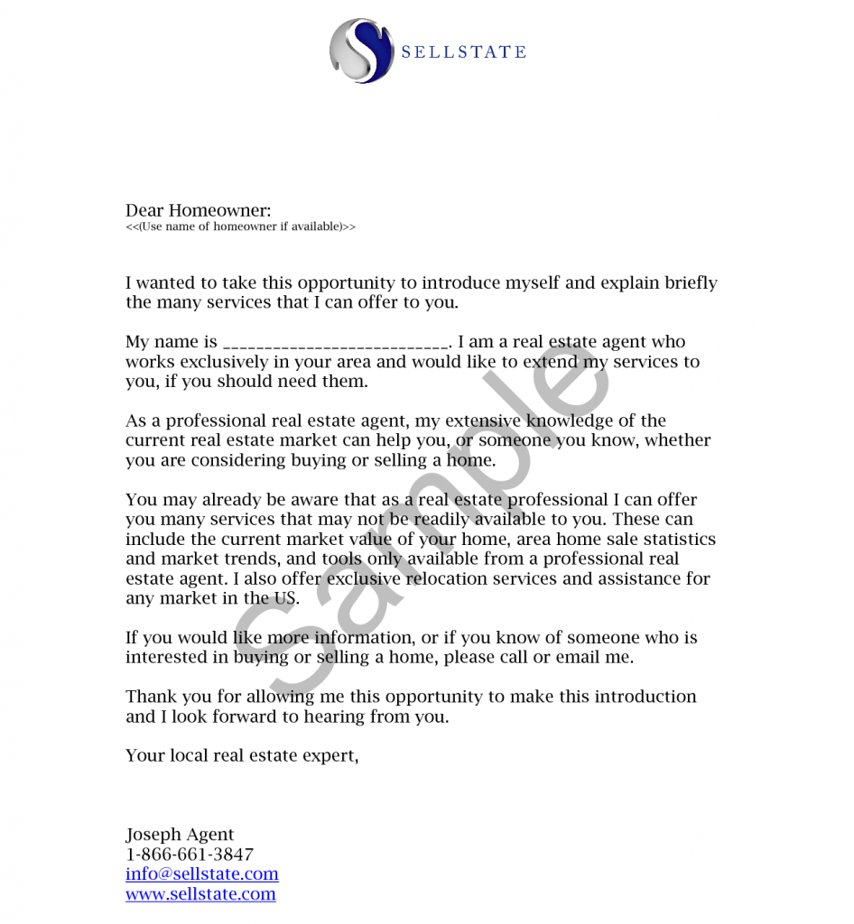 An example of a real estate company introduction letter to new clients.