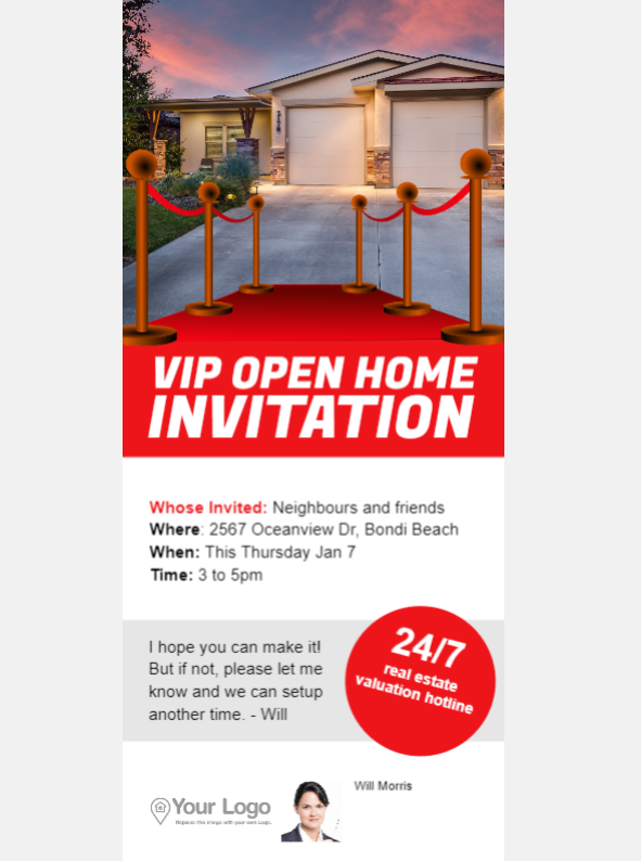 An open home invitation flyer
