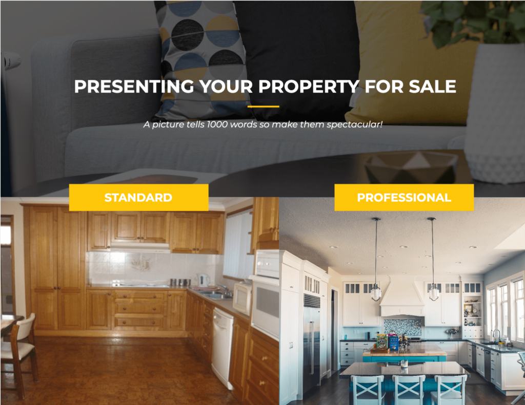 Before and after staging images in a listing presentation.