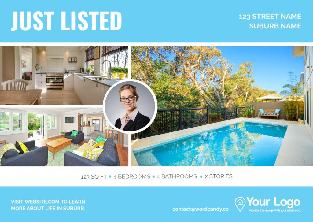 A 'Just Listed' real estate flyer.