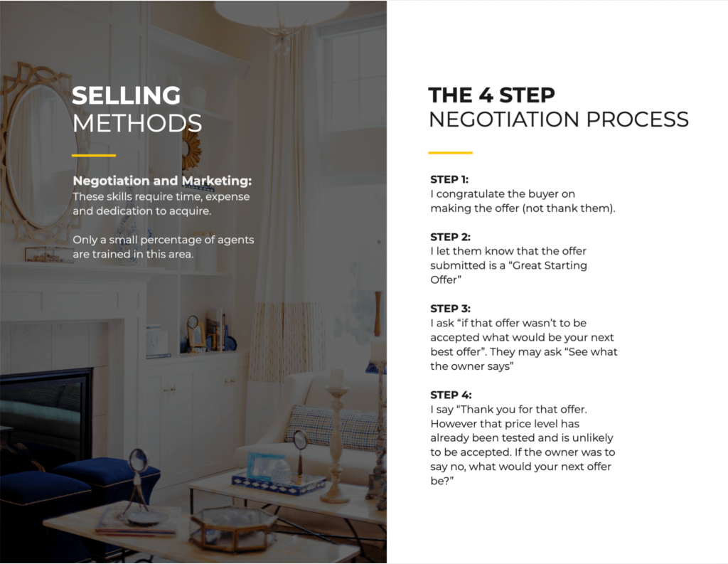 Outlining the selling process in a listing presentation.