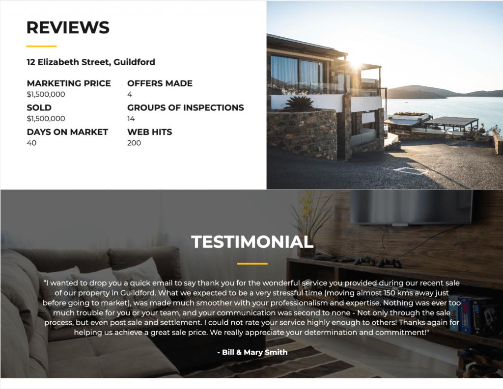 A testimonial listing presentation script template.