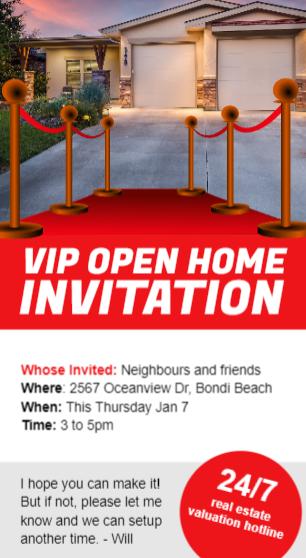 A VIP open home invitation flyer