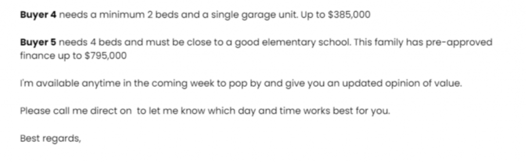 The offer portion of a real estate farming letter