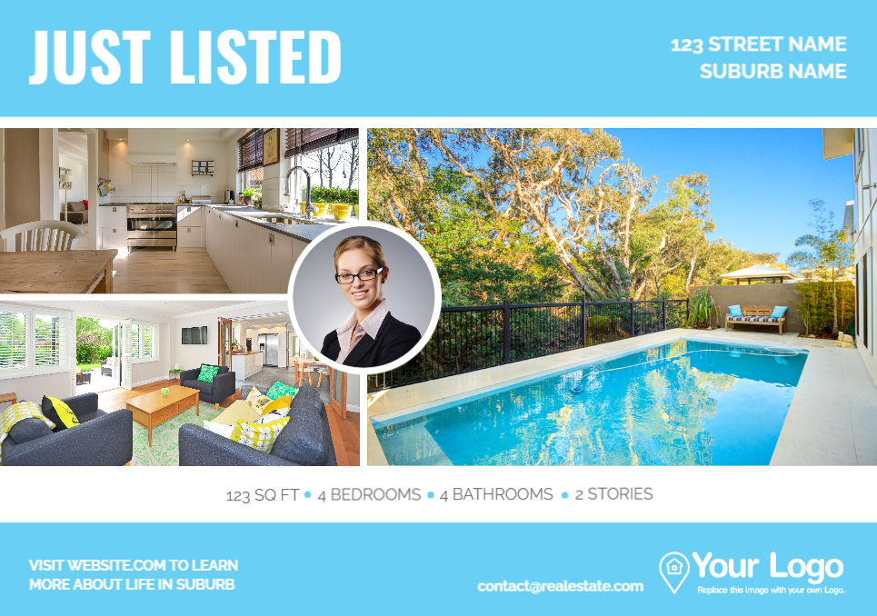 A just-listed postcard with room for your website address