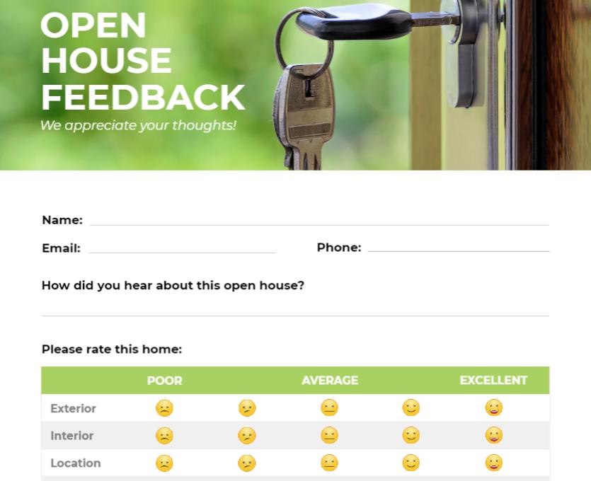 Open house feedback form