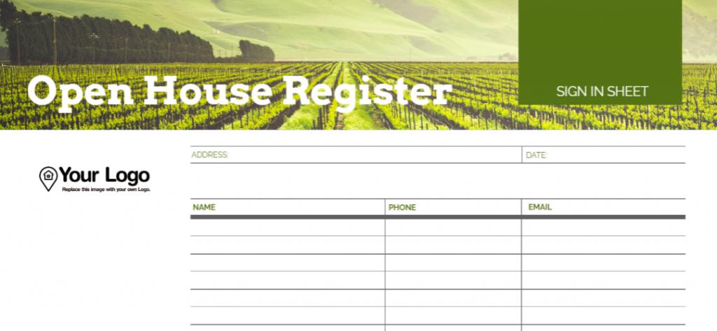 An open house signin sheet