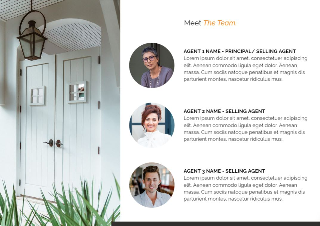This page in our pre listing presentation template helps you introduce your team of real estate agents.