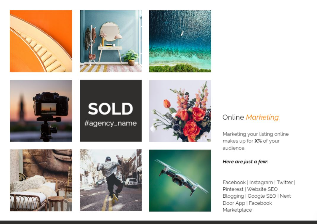 The template has a page dedicated to your online marketing strategy.