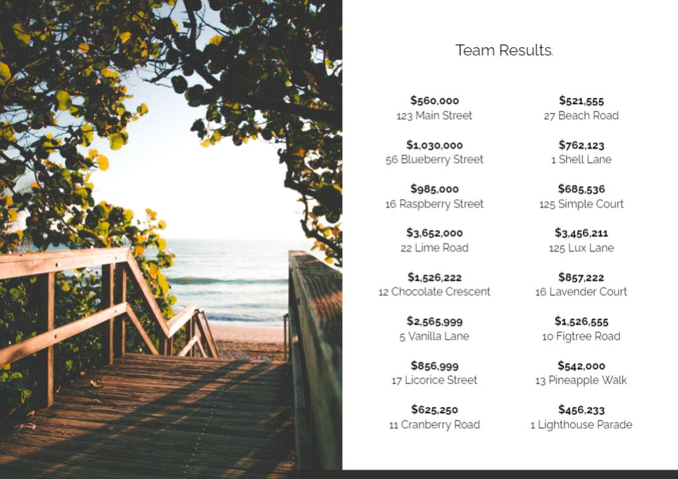 Our presentation template lets you showcase your team results and track record.
