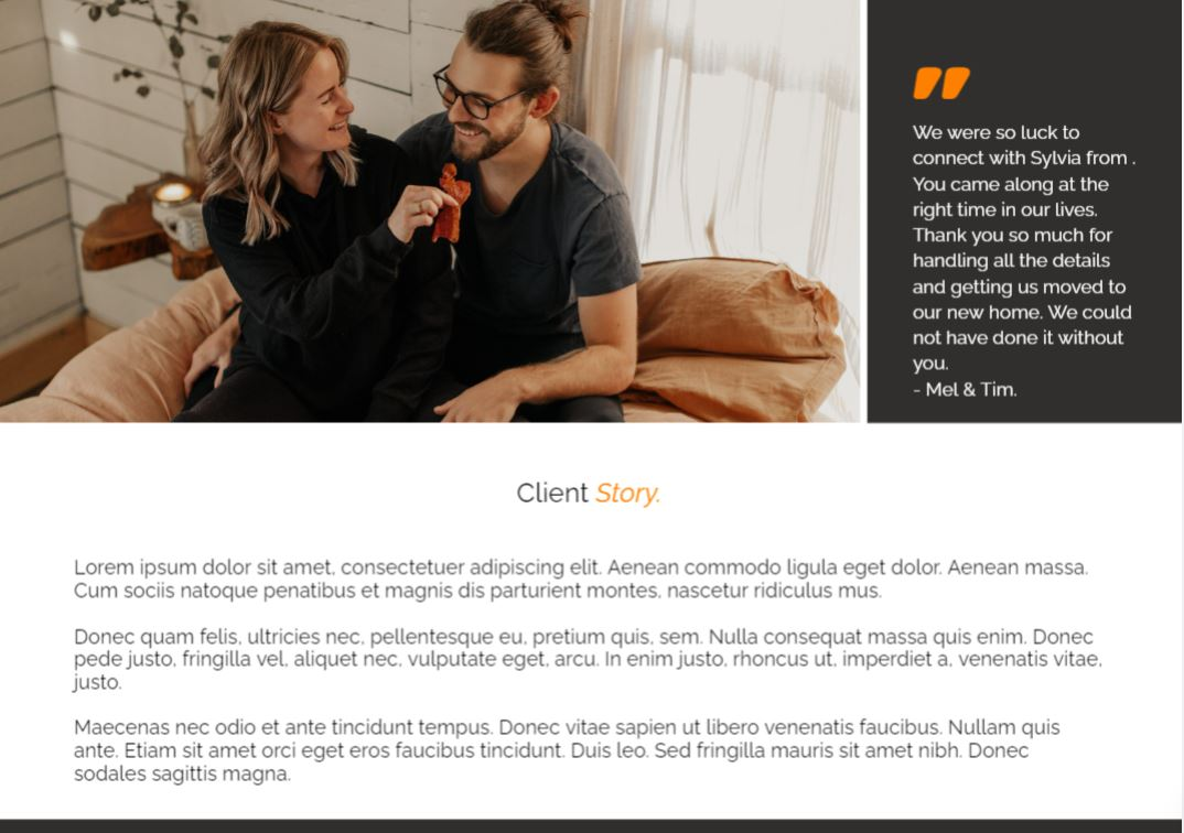 An example of a client testimonial in our presentation template.