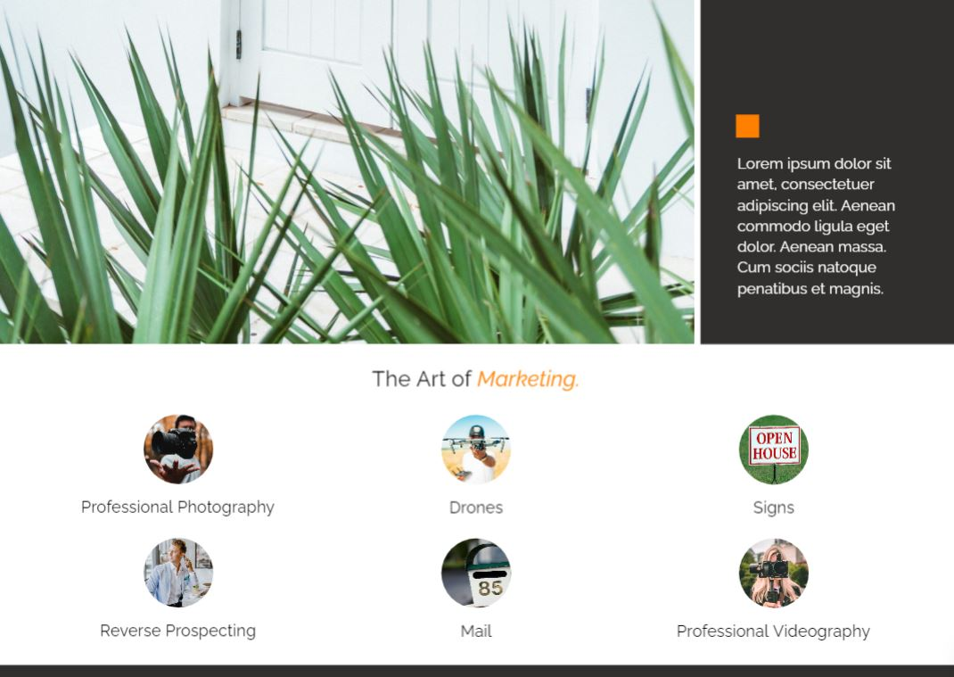 The marketing page on our pre listing presentation template.