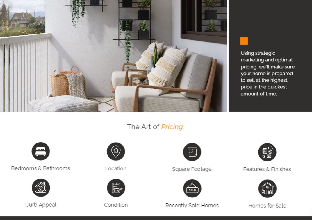 The pre listing presentation template includes a page with the pricing criteria for houses.