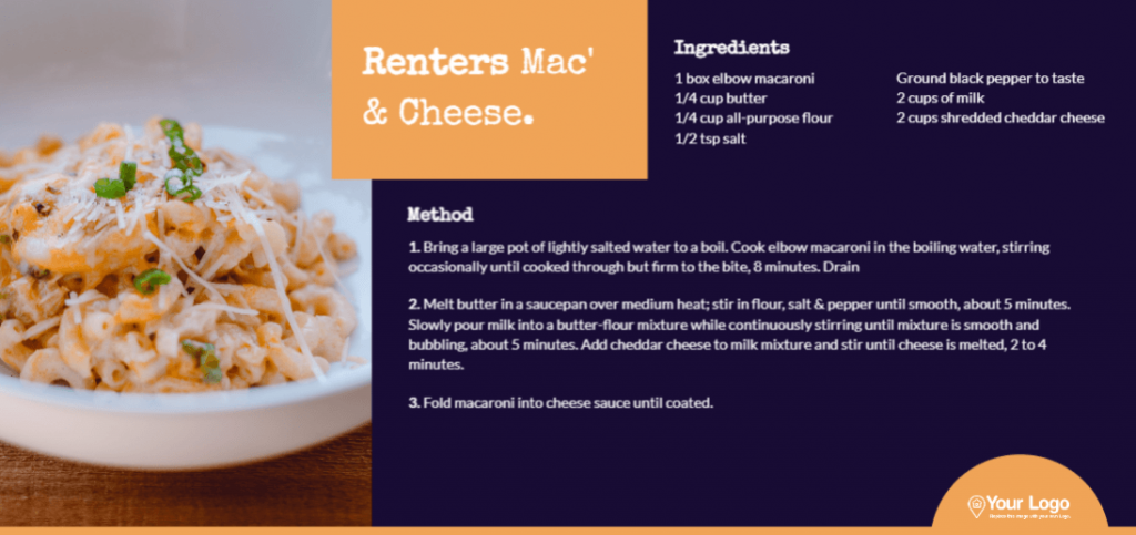 The renter's mac and cheese real estate recipe postcard